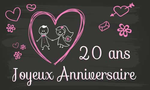 carte anniversaire mariage 20 ans tableau. Black Bedroom Furniture Sets. Home Design Ideas