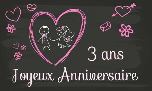 carte anniversaire mariage 3 ans tableau. Black Bedroom Furniture Sets. Home Design Ideas