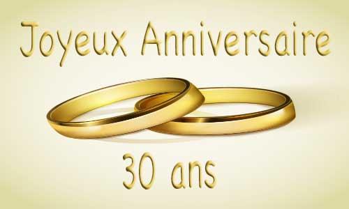Carte Anniversaire Mariage 30 Ans Bague Or