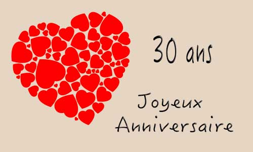 carte anniversaire mariage 30 ans coeur. Black Bedroom Furniture Sets. Home Design Ideas