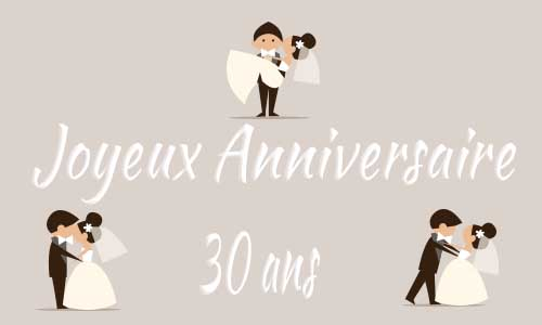 carte anniversaire mariage 30 ans maries trois. Black Bedroom Furniture Sets. Home Design Ideas