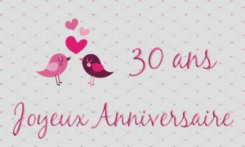 carte anniversaire mariage 30 ans oiseau coeur. Black Bedroom Furniture Sets. Home Design Ideas