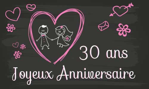 carte anniversaire mariage 30 ans tableau. Black Bedroom Furniture Sets. Home Design Ideas