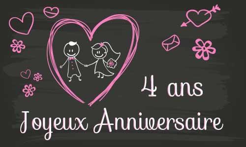 Carte Anniversaire Mariage 4 Ans Virtuelle Gratuite à