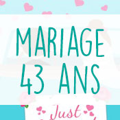 Carte anniversaire mariage 43 ans