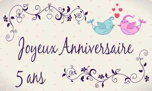 Carte anniversaire mariage 5 ans oiseau - Anniversaire mariage 4 ans ...