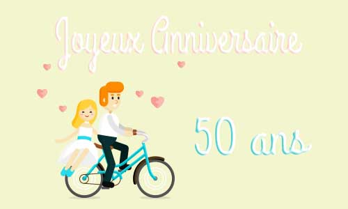 carte anniversaire mariage 50 ans maries velo. Black Bedroom Furniture Sets. Home Design Ideas