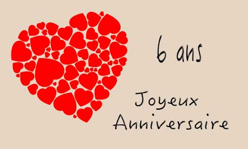 carte anniversaire mariage 6 ans coeur. Black Bedroom Furniture Sets. Home Design Ideas