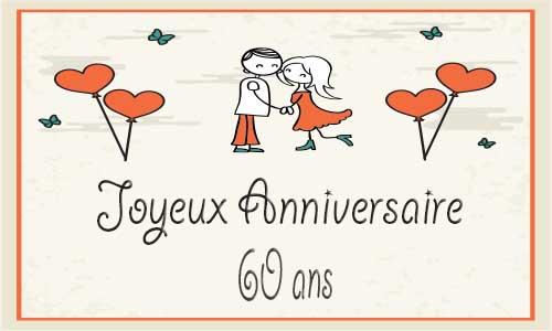 Exceptionnel Carte anniversaire mariage 60 ans coeur papillon TZ18