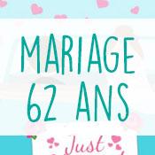 Carte anniversaire mariage 62 ans