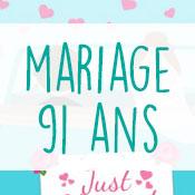 Carte anniversaire mariage 91 ans