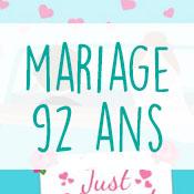 Carte anniversaire mariage 92 ans