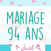 Carte anniversaire mariage 94 ans