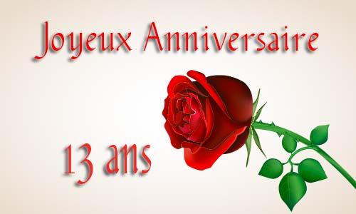 Carte Anniversaire Amour 13 Ans Rose Rouge