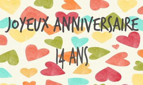 Carte Anniversaire Amour 14 Ans Multicolor Coeur