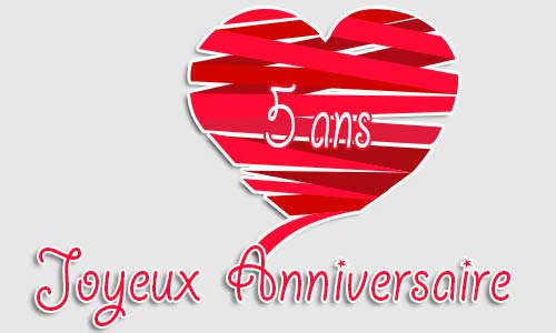 carte anniversaire amour 5 ans cadeau rouge. Black Bedroom Furniture Sets. Home Design Ideas