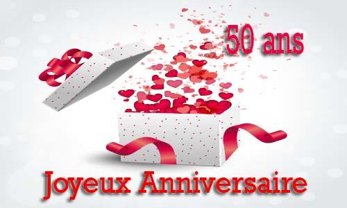 carte anniversaire amour 50 ans cadeau ouvert. Black Bedroom Furniture Sets. Home Design Ideas