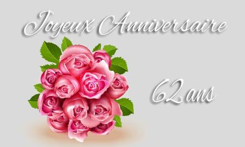 Carte Anniversaire Amour 62 Ans Bouquet Rose