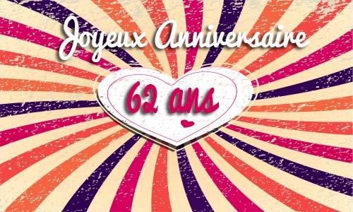 Carte Anniversaire Amour 62 Ans Coeur Vintage