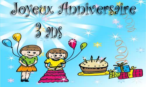 Carte Anniversaire Enfant 3 Ans Virtuelle Gratuite A Imprimer