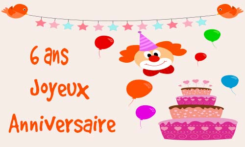 carte anniversaire enfant 6 ans gateau. Black Bedroom Furniture Sets. Home Design Ideas