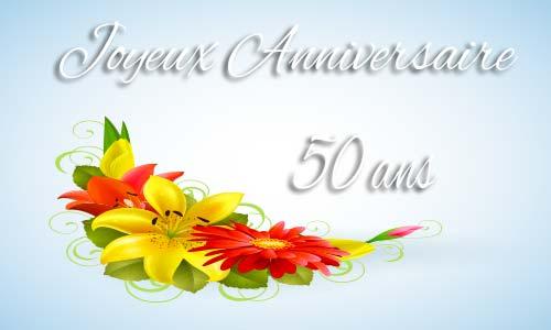 Carte anniversaire femme 50 ans fleur jaune
