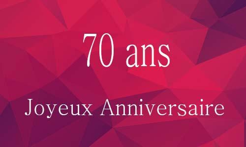 Très Carte anniversaire femme 70 ans virtuelle gratuite à imprimer NC56
