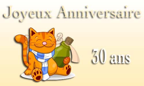 Carte Anniversaire Humour 30 Ans Chat Bouteille