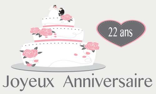 Carte Anniversaire Mariage 22 Ans Gateau Coeur Gris