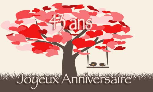 carte anniversaire mariage 43 ans arbre coeur. Black Bedroom Furniture Sets. Home Design Ideas