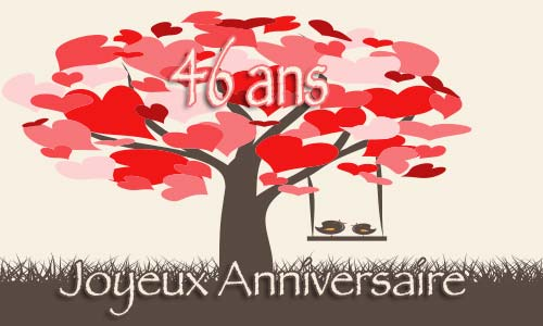 carte anniversaire mariage 46 ans arbre coeur. Black Bedroom Furniture Sets. Home Design Ideas
