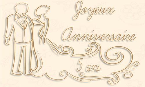 anniversaire de mariage 5 ans carte